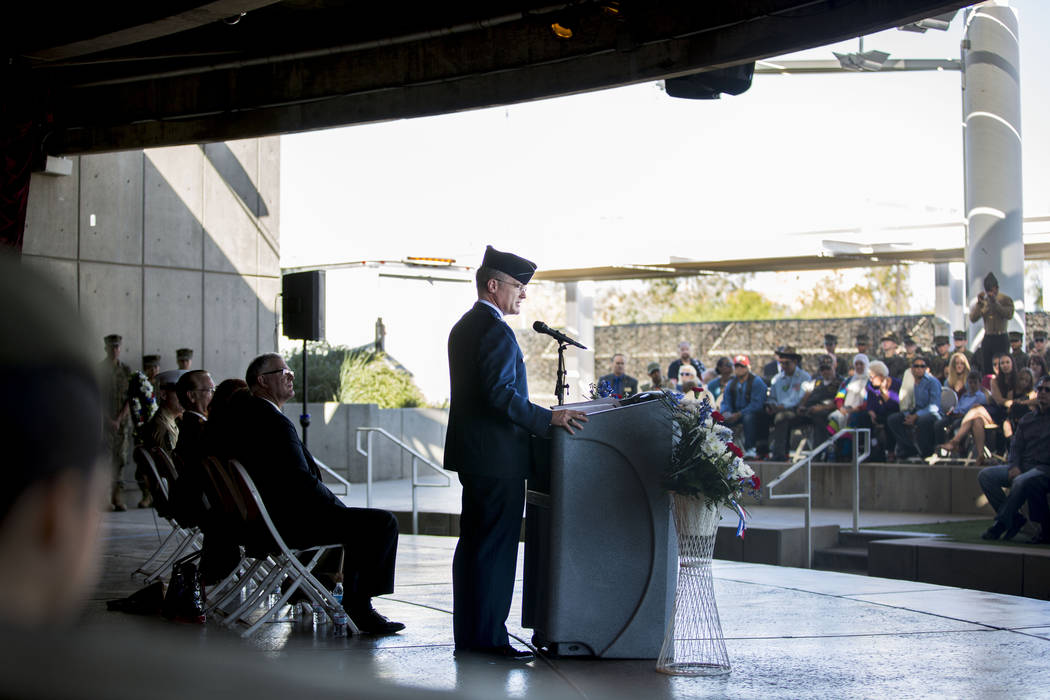 Col. Paul J. Murray from Nellis Air Force Base speaks at the Veterans Day Ceremony held at the Henderson Events Plaza amphitheater Saturday, Nov. 5, 2016. Elizabeth Page Brumley/Las Vegas Review-J ...