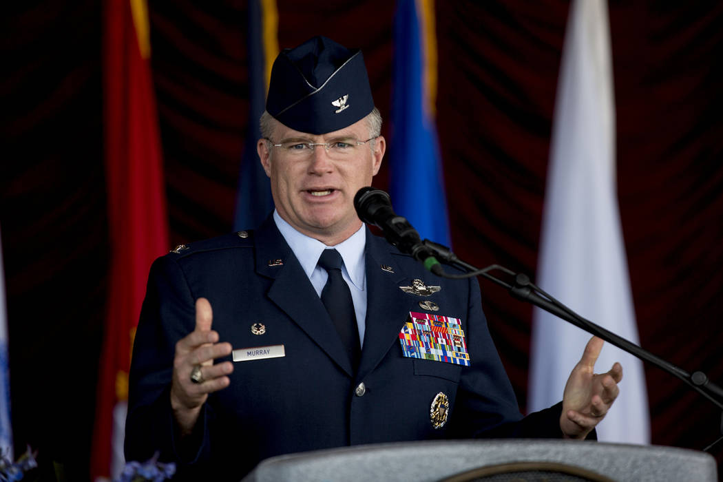 Col. Paul J. Murray from Nellis Air Force Base speaks at the Veterans Day Ceremony at the Henderson Events Plaza amphitheater Saturday, Nov. 5, 2016. Elizabeth Page Brumley/Las Vegas Review-Journal