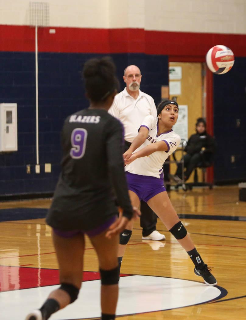 Durango's Sierra Leone Sanchez returns the ball during the Desert Region girls volleyball semifinal at Coronado High School in Henderson, Thursday, Nov. 1, 2018. Caroline Brehman/Las Vegas Review- ...