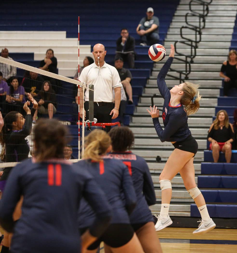 Coronado's Sasha Bolla returns the ball during the Desert Region girls volleyball semifinal at Coronado High School in Henderson, Thursday, Nov. 1, 2018. Caroline Brehman/Las Vegas Review-Journal