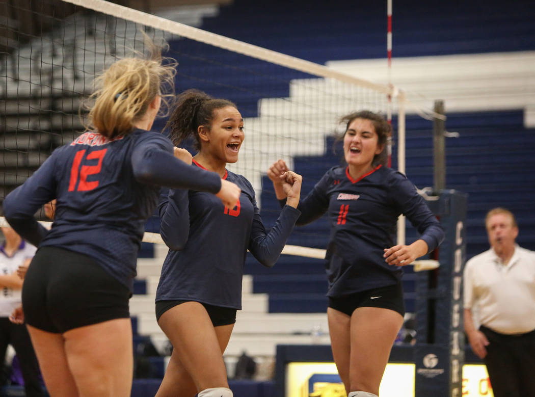 Coronado's Sasha Bolla, left, Brooke Dobson and Katie Sullivan celebrate after winning a point against Durango High School during the Desert Region girls volleyball semifinal at Coronado High Scho ...