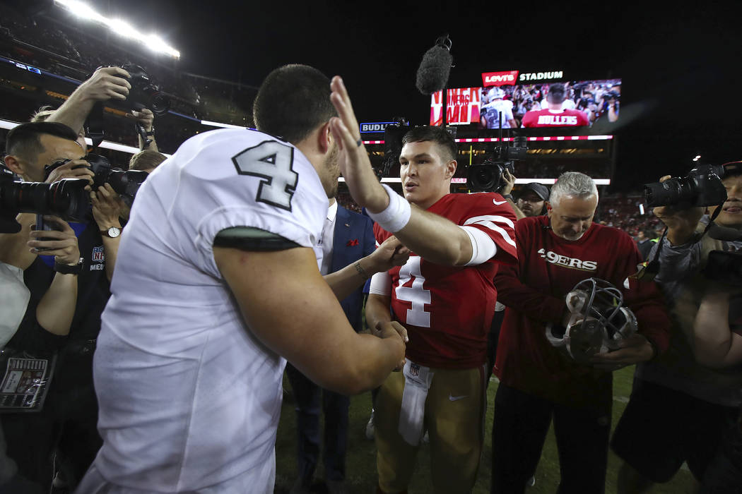 separation shoes 6ea36 20c58 Nick Mullens dazzles in historic NFL debut win over Raiders ...