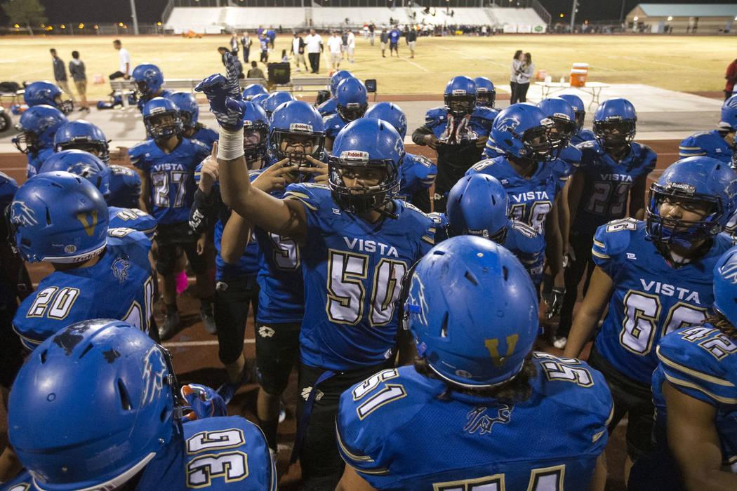 Sierra Vista players celebrate their 41-19 victory over Durango following a varsity football game at Sierra Vista High School in Las Vegas on Thursday, Oct. 25, 2018. Richard Brian Las Vegas Revie ...