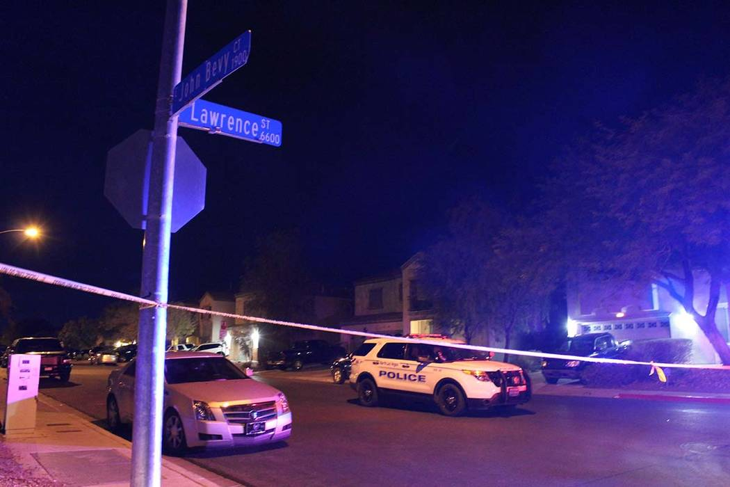 North Las Vegas police were called to the 6700 block of Courtney Michelle Street Thursday, Nov. 1, 2018, and found an 11-year-old girl who had been shot. She died at University Medical Center. (Ma ...