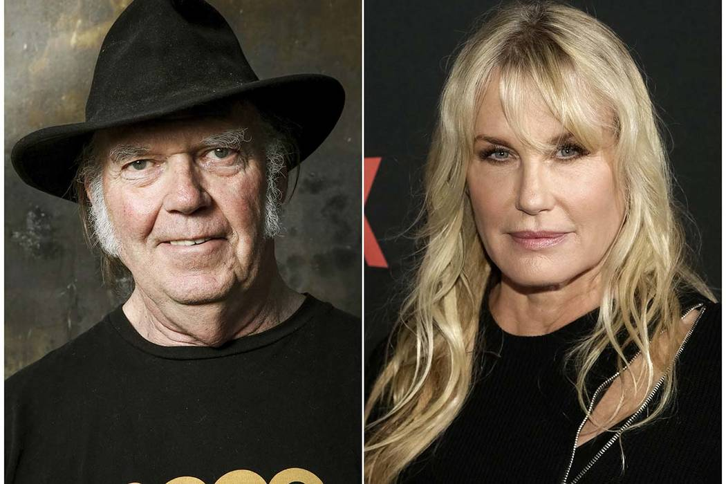 "This combination photo shows Neil Young posing for a portrait in Calabasas, Calif., on May 18, 2016, and actress Daryl Hannah at the Netflix ""Sense8"" Season 2 premiere in New York on April 26, 201 ..."