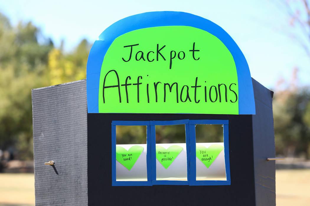 "A ""Jackpot of Affirmations"" is on display at the Las Vegas National Eating Disorder Association walk at Sunset Park in Las Vegas, Sunday, Nov. 11, 2018. Caroline Brehman/Las Vegas Review ..."