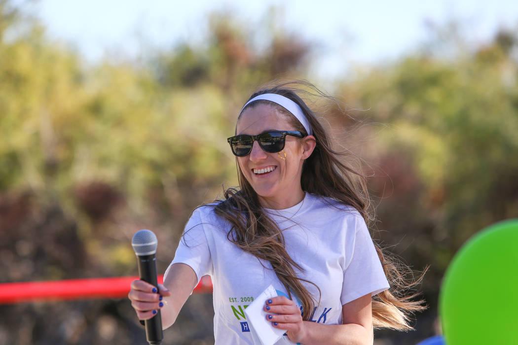 Event organizer Katie Fiorillo speaks at the Las Vegas National Eating Disorder Association walk at Sunset Park in Las Vegas, Sunday, Nov. 11, 2018. Caroline Brehman/Las Vegas Review-Journal