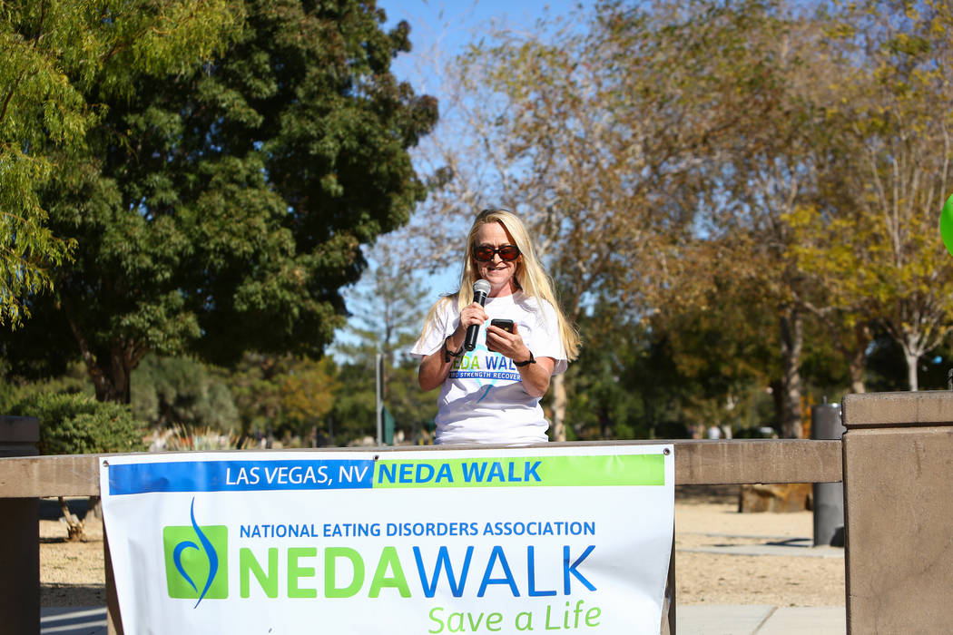 Guest speaker Jessica Lucas talks about her experience with eating disorders at the Las Vegas National Eating Disorder Association walk at Sunset Park in Las Vegas, Sunday, Nov. 11, 2018. Caroline ...