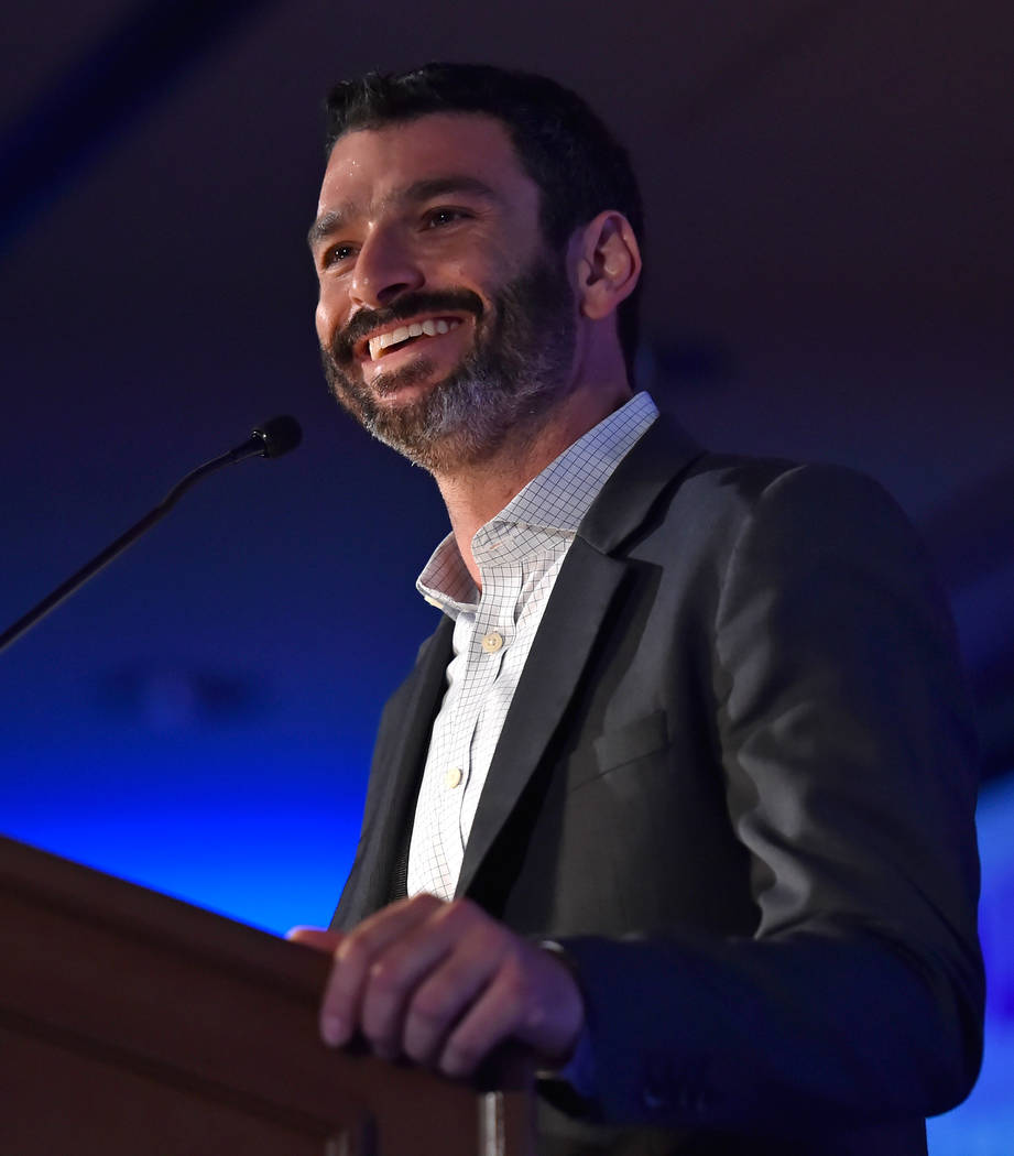 Arash Ghafoori, executive director of the Nevada Partnership for Homeless Youth speaks during the Southern Nevada Youth Homelessness Summit at the Venetian Las Vegas Friday, Nov. 2, 2018, in Las V ...