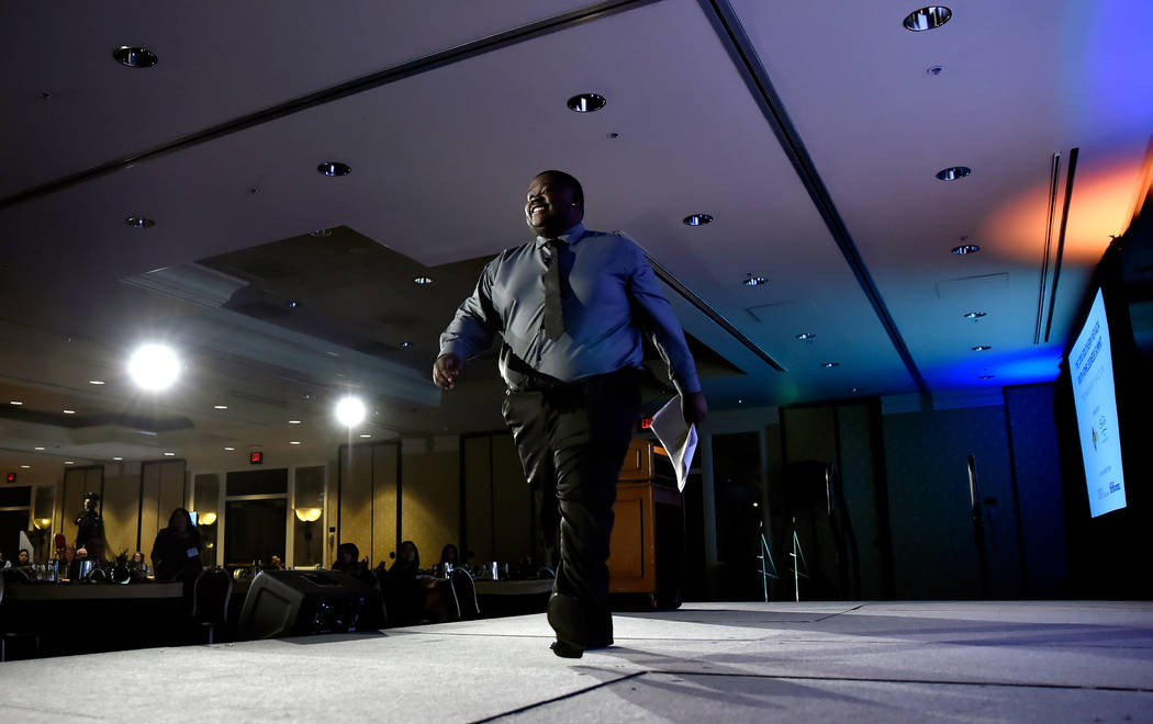 Emcee Marquan Ellis speaks during the Southern Nevada Youth Homelessness Summit at the Venetian Las Vegas Friday, Nov. 2, 2018, in Las Vegas. Nevada Partnership for Homeless Youth unveiled a compr ...