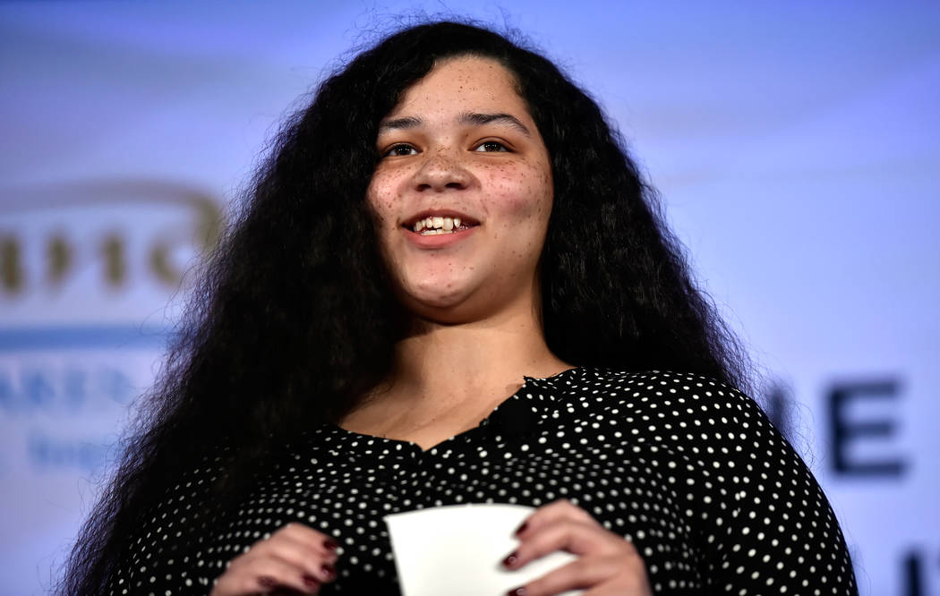Young Adult in Charge member Taisacan Hall speaks during the Southern Nevada Youth Homelessness Summit at the Venetian Las Vegas Friday, Nov. 2, 2018, in Las Vegas. Nevada Partnership for Homeless ...