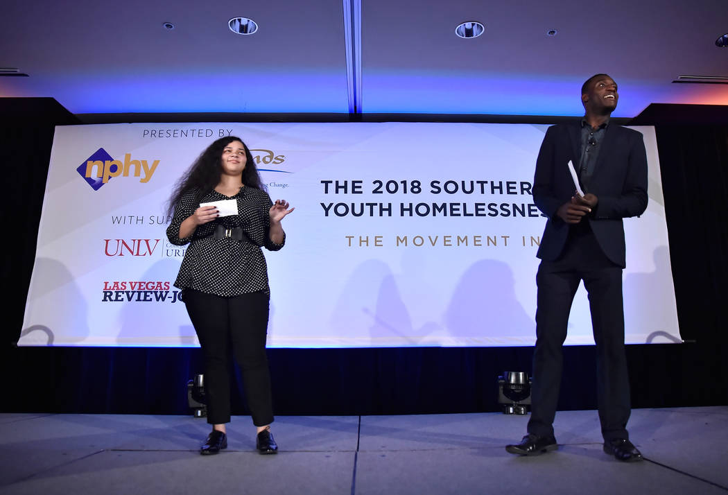 Young Adult in Charge members Taisacan Hall, left, and Kennedy Adams speak during the Southern Nevada Youth Homelessness Summit at the Venetian Las Vegas Friday, Nov. 2, 2018, in Las Vegas. Nevada ...