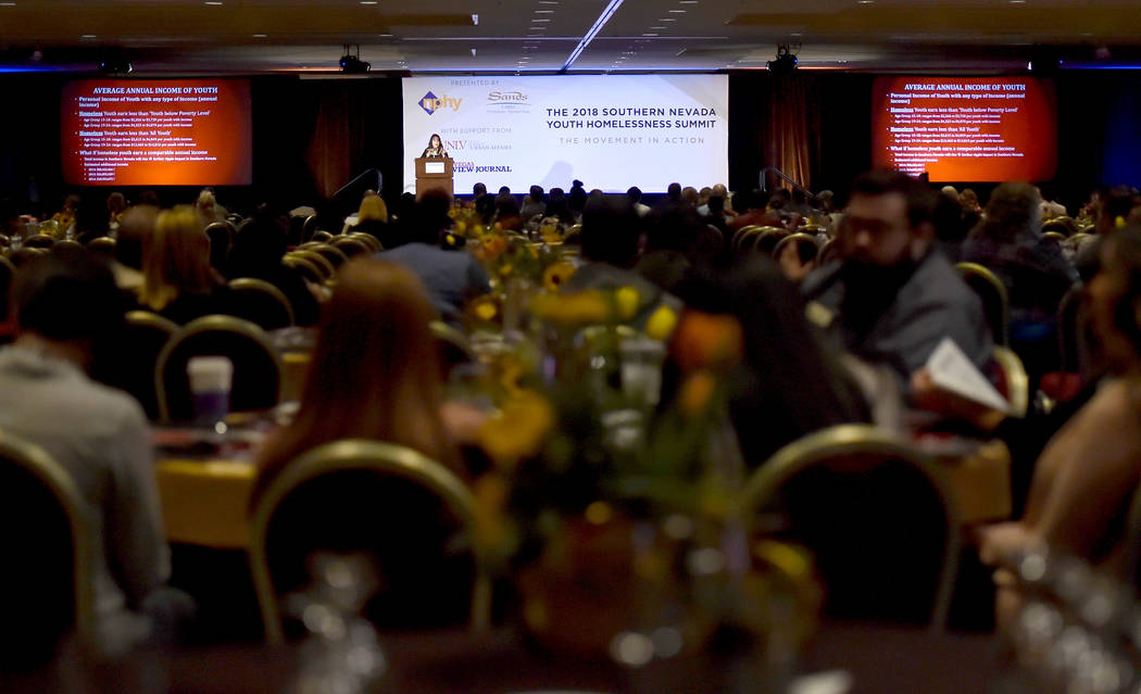 UNLV Professor Patricia Cook-Craig speaks during the Southern Nevada Youth Homelessness Summit at the Venetian Las Vegas Friday, Nov. 2, 2018, in Las Vegas. Nevada Partnership for Homeless Youth u ...