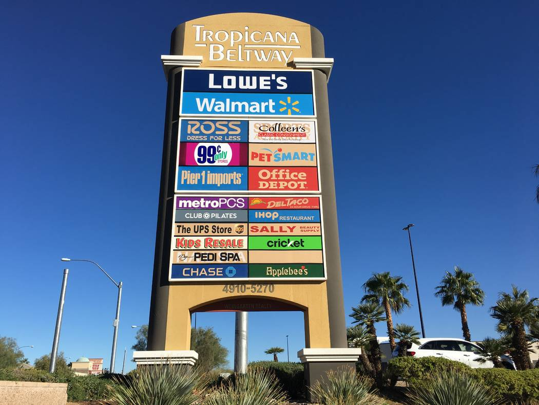 The Krausz Cos. and WG Group bought part of Tropicana Beltway Center in the southwest Las Vegas Valley, seen Friday, Nov. 2, 2018, for $59 million. (Eli Segall/Las Vegas Review-Journal)