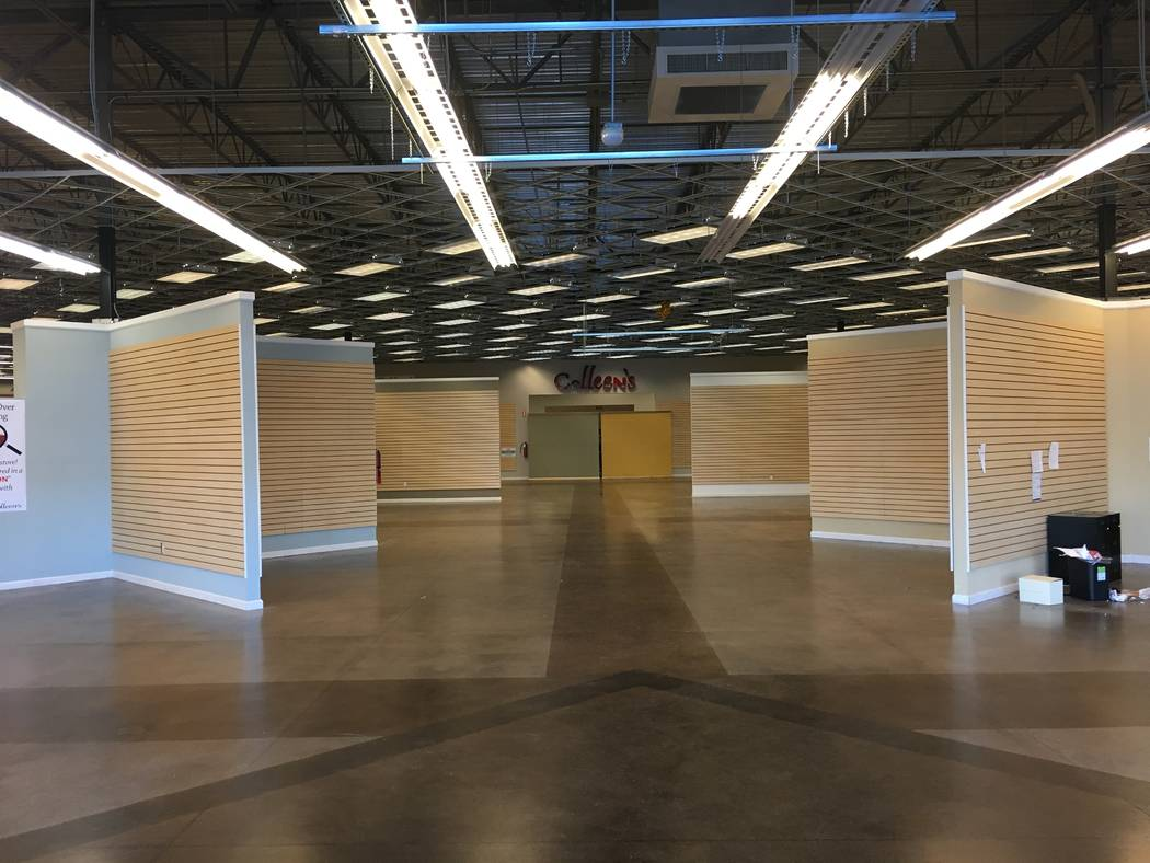 The interior of a shuttered Colleen's Classic Consignment is seen Friday, Nov. 2, 2018 in Tropicana Beltway Center in Las Vegas. The Krausz Cos. and WG Group bought part of the shopping center for ...