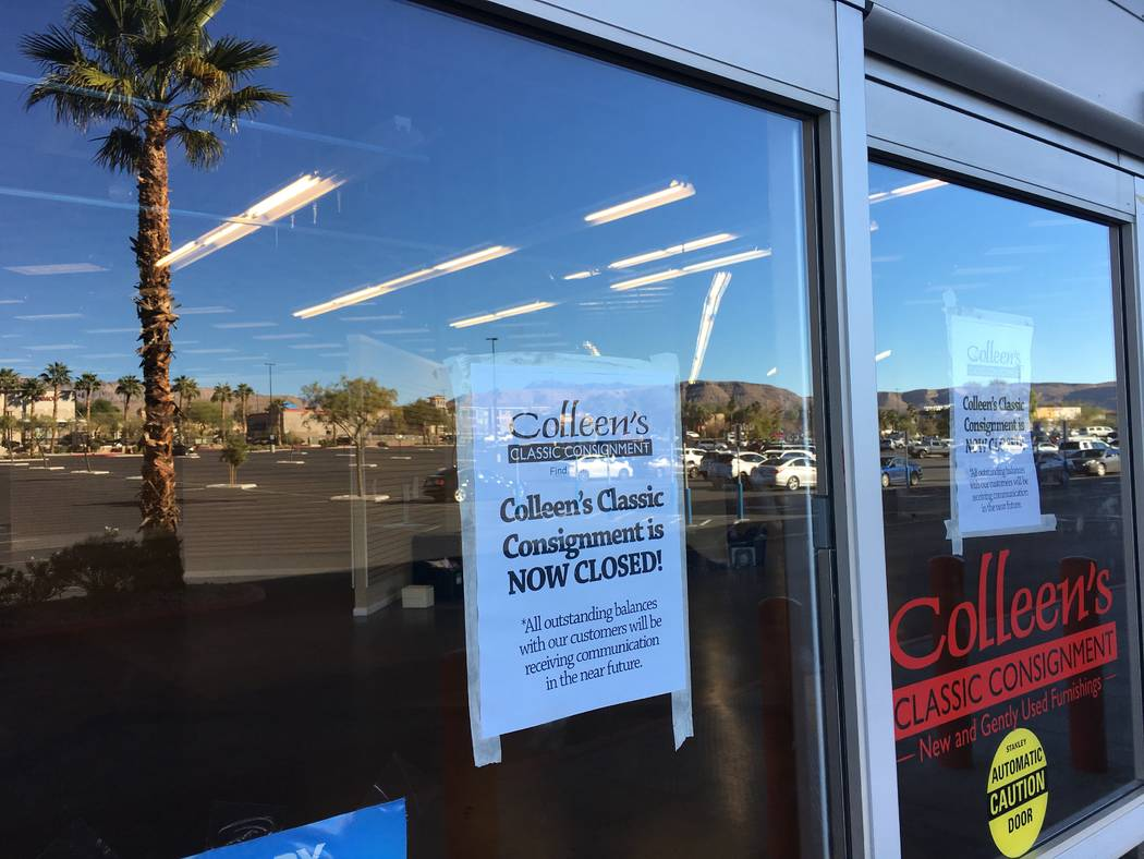 The entrance to a shuttered Colleen's Classic Consignment is seen Friday, Nov. 2, 2018 in Tropicana Beltway Center in Las Vegas. The Krausz Cos. and WG Group bought part of the shopping center for ...