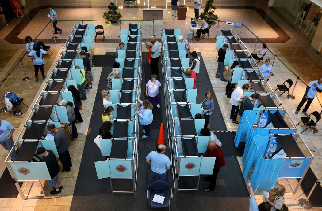 Early voters cast their ballots at Galleria at Sunset in Henderson Thursday, Nov. 1, 2018. The final day of early voting is Friday. Election day is Tuesday, Nov. 6. K.M. Cannon Las Vegas Review-Jo ...