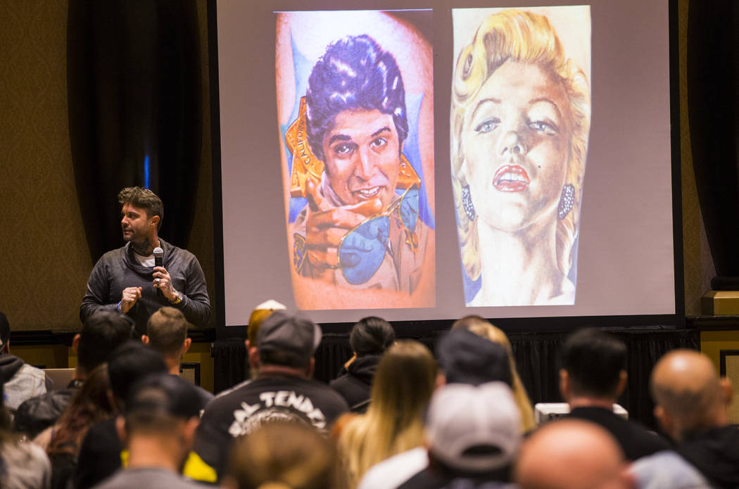 Tattoo artist Alex de Pase speaks during a workshop seminar at The World of Tattoo industry trade show at Planet Hollywood in Las Vegas on Thursday, Nov. 1, 2018. Chase Stevens Las Vegas Review-Jo ...