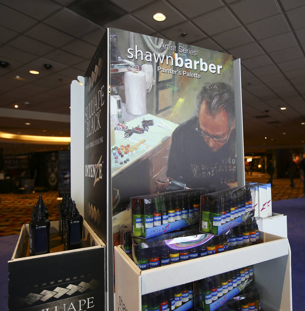 A display of Shawn Barber Painter's Palette inks by Intenze Tattoo Ink at The World of Tattoo industry trade show at Planet Hollywood in Las Vegas on Thursday, Nov. 1, 2018. Chase Stevens Las Vega ...