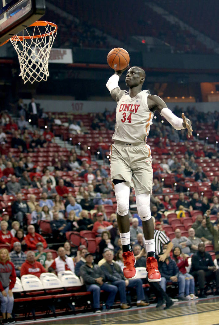 UNLV Rebels forward Cheikh Mbacke Diong (34) dunks in the first half of their NCAA basketball game at the Thomas & Mack Center in Las Vegas Friday, Nov. 23, 2018. K.M. Cannon Las Vegas Review- ...