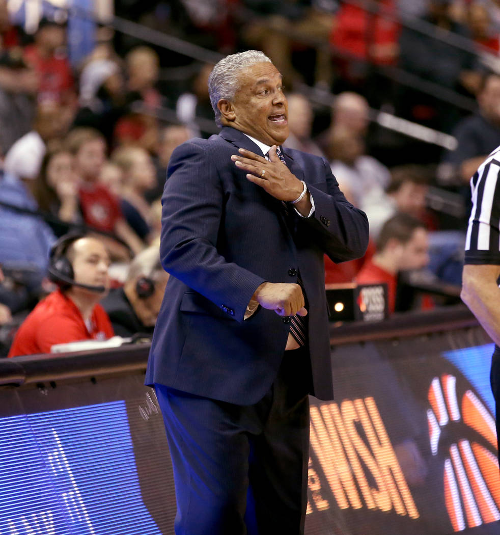 UNLV Rebels head coach Marvin Menzies in the second half of their NCAA basketball game at the Thomas & Mack Center in Las Vegas Friday, Nov. 23, 2018. K.M. Cannon Las Vegas Review-Journal @KMC ...