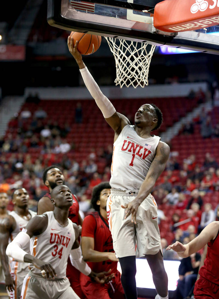 UNLV Rebels guard Kris Clyburn (1) shoots in the second half of their NCAA basketball game at the Thomas & Mack Center in Las Vegas Friday, Nov. 23, 2018. K.M. Cannon Las Vegas Review-Journal ...