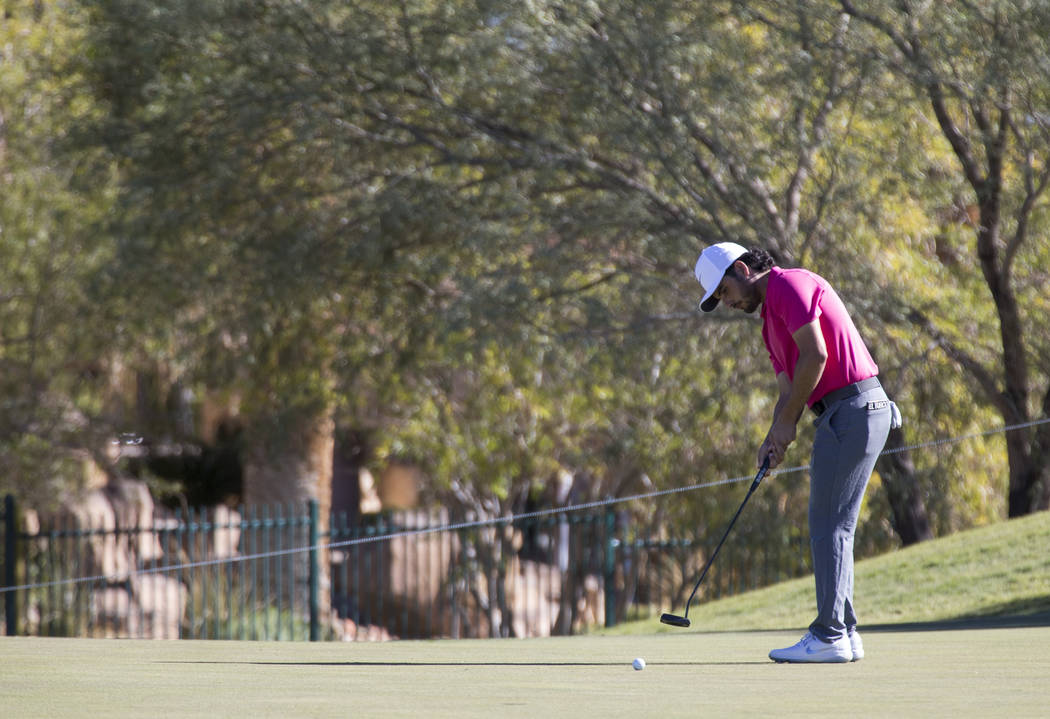 Abraham Ancer of Mexico putts on the first green during the second round of the Shriners Hospitals for Children Open tournament at TPC at Summerlin in Las Vegas on Friday, Nov. 2, 2018. Richard Br ...