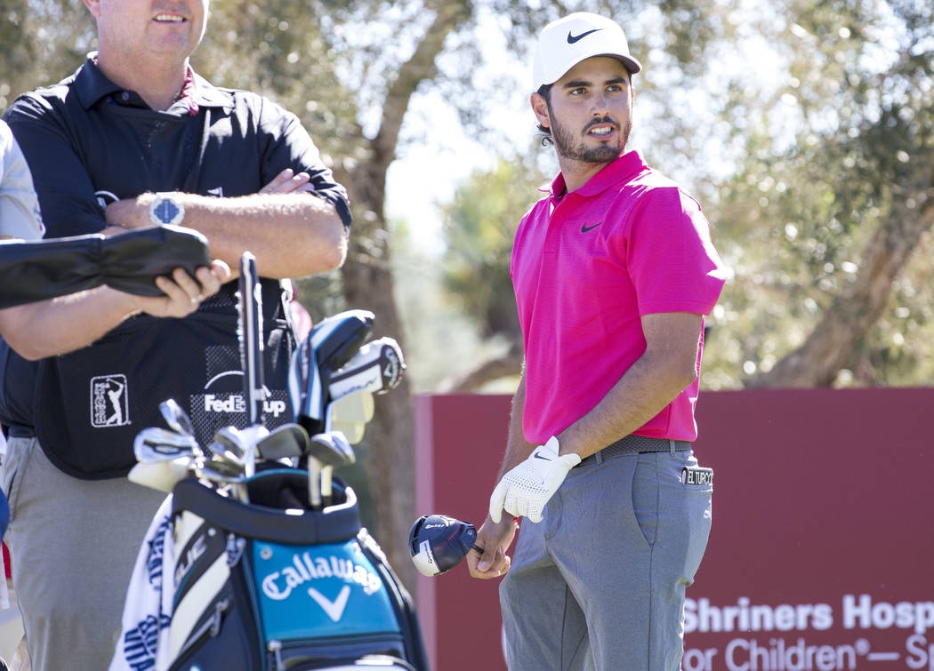 Abraham Ancer of Mexico watches his shot after teeing off from the ninth during the second round of the Shriners Hospitals for Children Open tournament at TPC at Summerlin in Las Vegas on Friday, ...