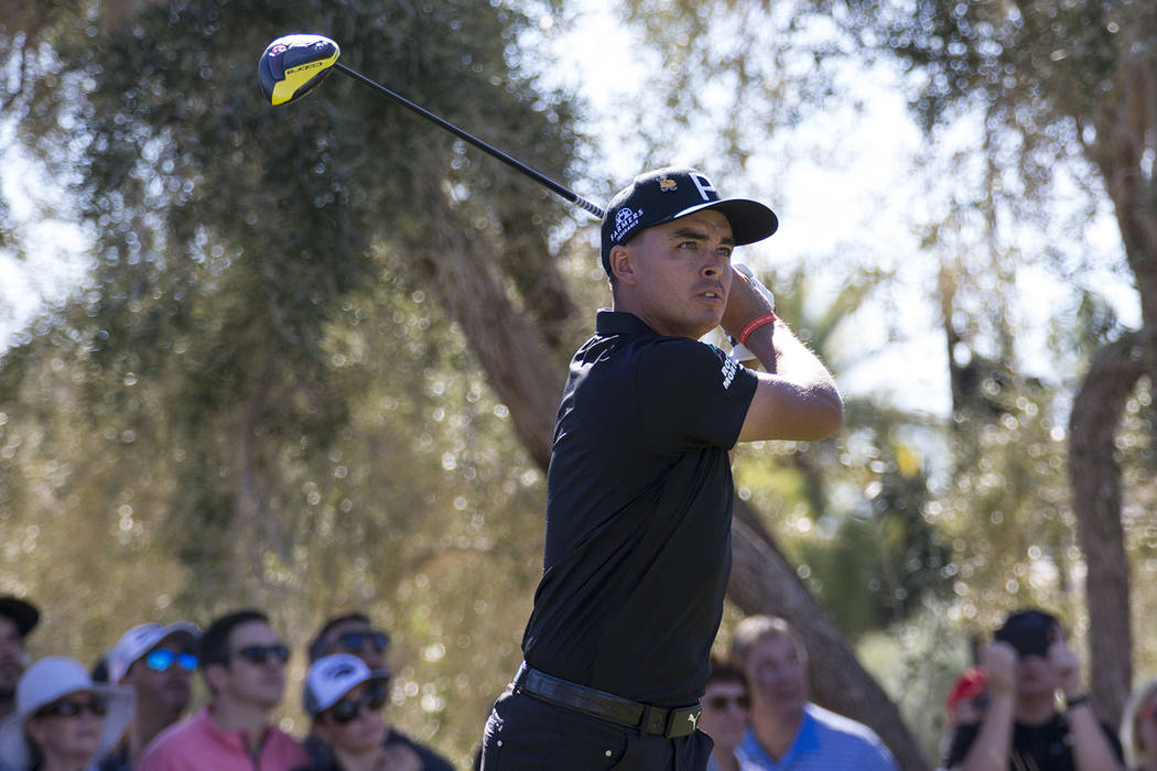 Rickie Fowler tees off from the ninth during the second round of the Shriners Hospitals for Children Open tournament at TPC at Summerlin in Las Vegas on Friday, Nov. 2, 2018. Richard Brian Las Veg ...
