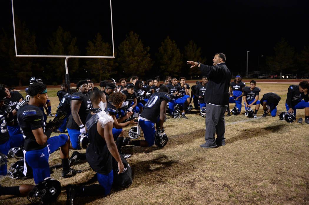 Desert Pines Head Coach Tico Rodriguez talks to the team after their win against Centennial at Desert Pines High School in Las Vegas, Friday, Nov. 2, 2018. Caroline Brehman/Las Vegas Review-Journal