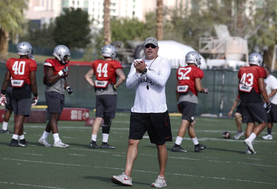 UNLV head coach Tony Sanchez watches his players during team practice on Wednesday, Sept. 5, 2018, in Las Vegas. (Bizuayehu Tesfaye/Las Vegas Review-Journal) @bizutesfaye