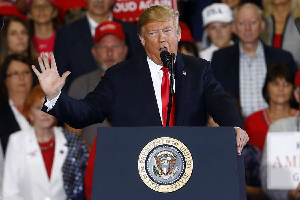 President Donald Trump speaks during a campaign rally at Pensacola International Airport, Saturday, Nov. 3, 2018, in Pensacola, Fla. (AP Photo/Butch Dill)