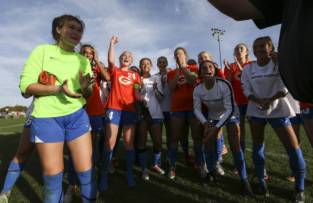 Bishop Gorman players celebrate their win over Coronado in the Desert Region girls soccer championship game at Bettye Wilson Soccer Complex in Las Vegas on Saturday, Nov. 3, 2018. Chase Stevens La ...