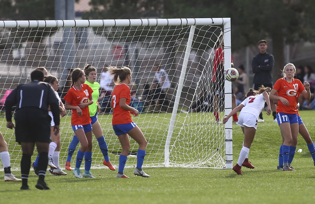 Coronado's Alexis Pashales heads the ball to score a goal against Bishop Gorman during the Desert Region girls soccer championship game at Bettye Wilson Soccer Complex in Las Vegas on Saturday, No ...