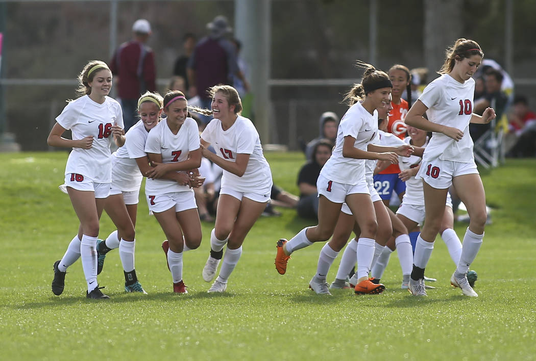 Coronado players celebrate a goal by Coronado's Alexis Pashales (7) during the Desert Region girls soccer championship game against Bishop Gorman at Bettye Wilson Soccer Complex in Las Vegas on Sa ...