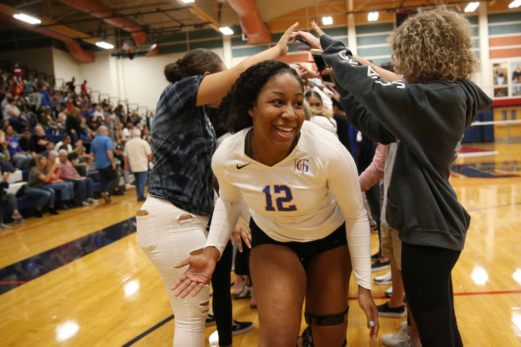 Bishop Gorman Alena Watson (12) celebrates with her team after their victory 3-0 against Palo Verde in the girl's volleyball game at Coronado High School in Henderson, Saturday, Nov. 3, 2018. Erik ...