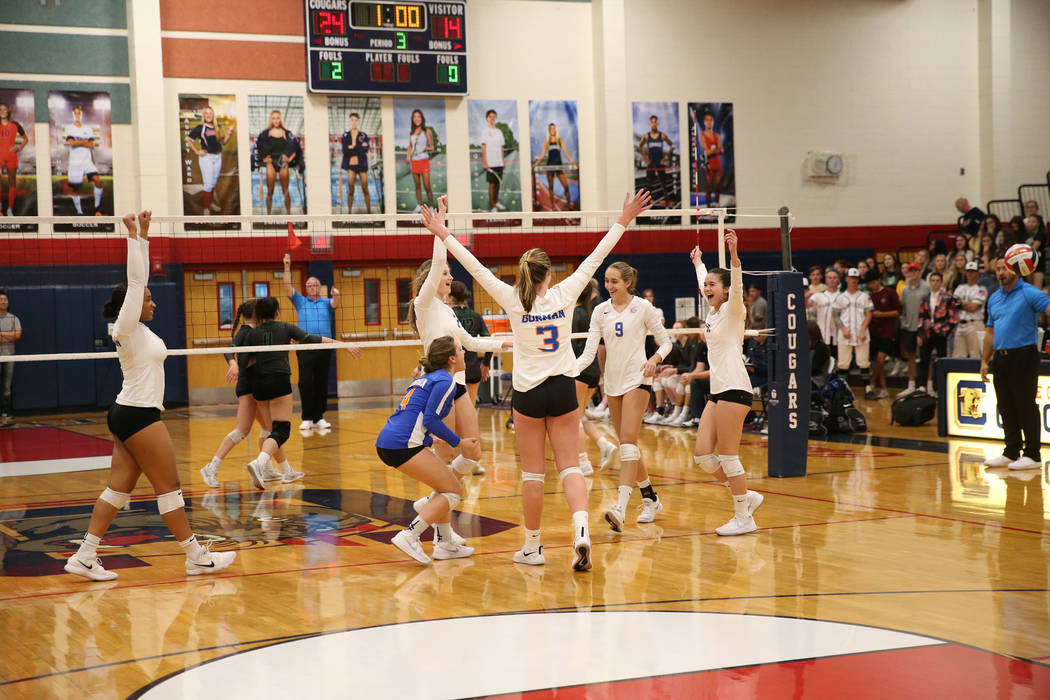 Bishop Gorman react to scoring their last point to win 3-0 against Palo Verde during the third set of the girl's volleyball game at Coronado High School in Henderson, Saturday, Nov. 3, 2018. Bisho ...