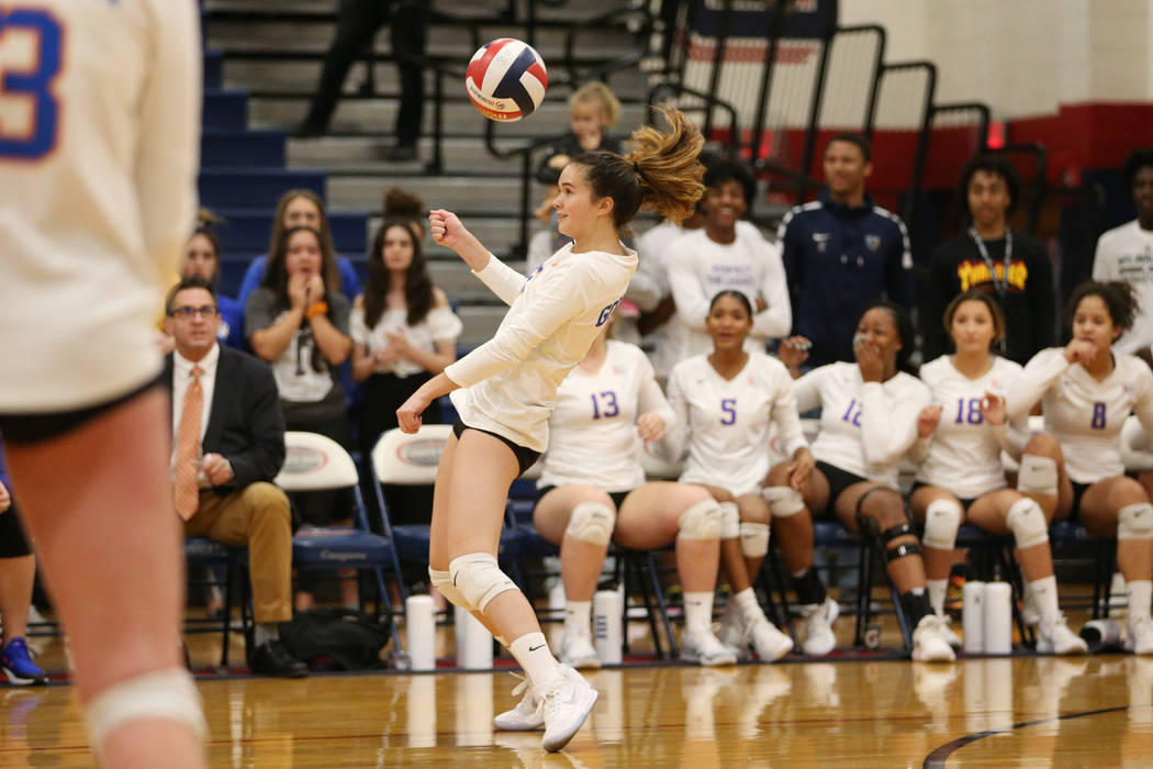Bishop Gorman's Caroline Edgeworth (11) saves the ball against Palo Verde during the third set of the girl's volleyball game at Coronado High School in Henderson, Saturday, Nov. 3, 2018. Bishop Go ...