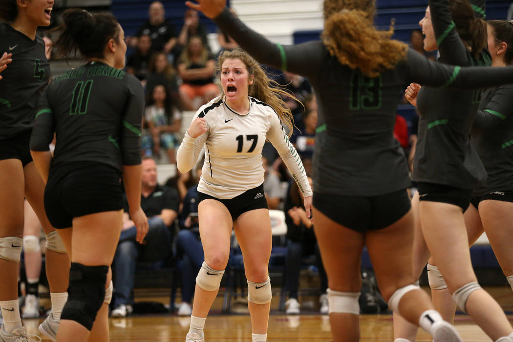 Palo Verde's Mia Sadler (17) reacts after a play against Bishop Gorman during the third set of the girl's volleyball game at Coronado High School in Henderson, Saturday, Nov. 3, 2018. Bishop Gorma ...