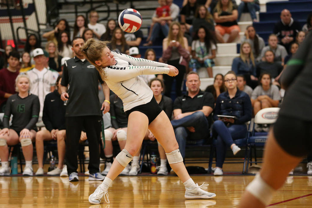 Palo Verde's Mia Sadler (17) saves the ball against Bishop Gorman during the third set of the girl's volleyball game at Coronado High School in Henderson, Saturday, Nov. 3, 2018. Bishop Gorman wo ...