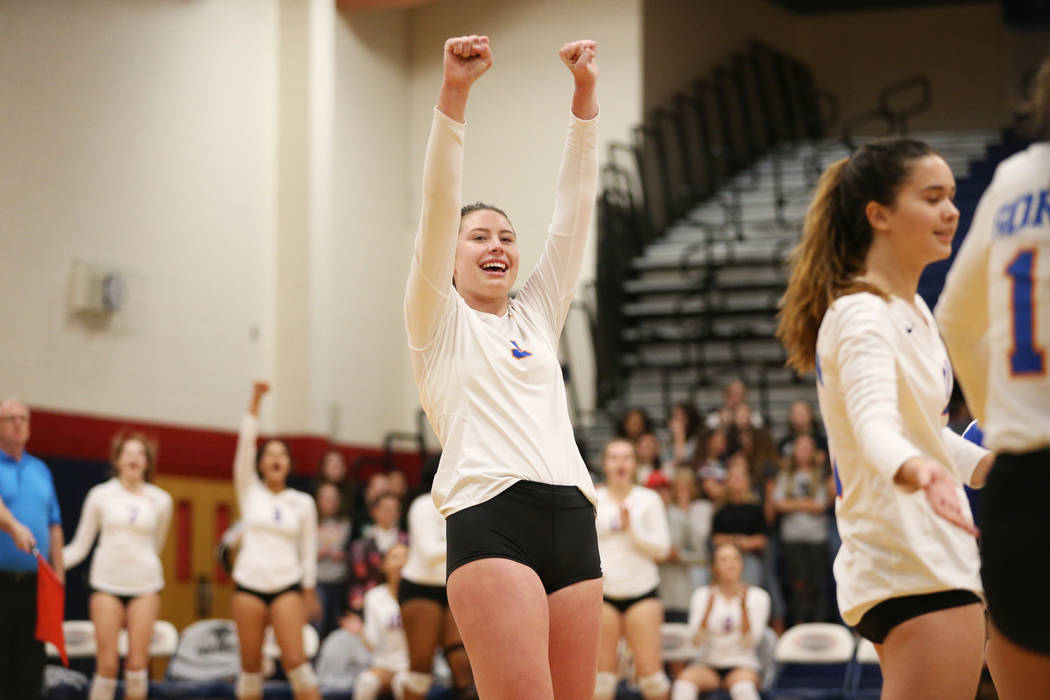 Bishop Gorman's Tommi Stockham (3) reacts after a play against Palo Verde during the second set of the girl's volleyball game at Coronado High School in Henderson, Saturday, Nov. 3, 2018. Bishop G ...