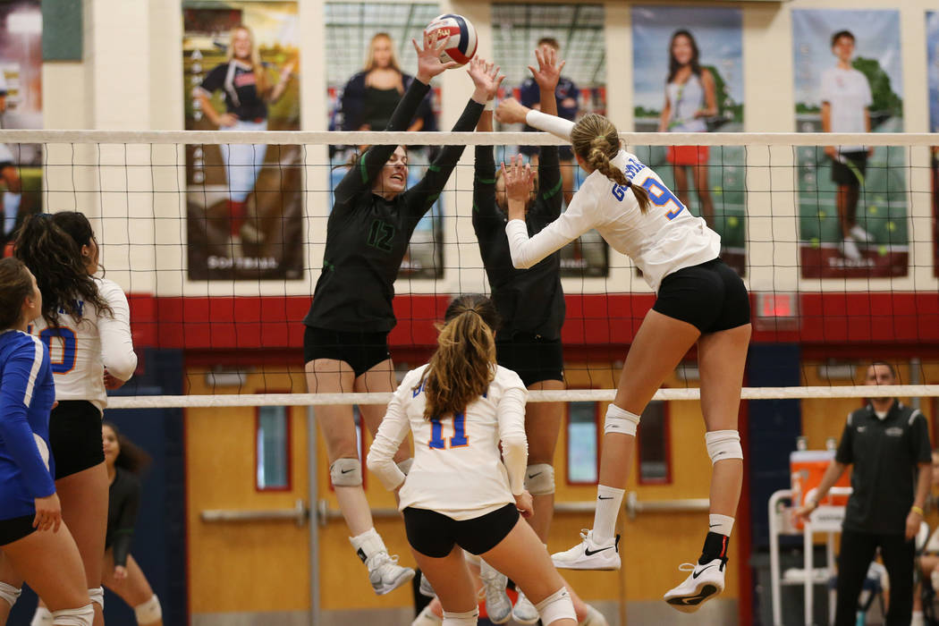 Bishop Gorman's Anjelina Starck (9) connects with the ball against Palo Verde during the first set of the girl's volleyball game at Coronado High School in Henderson, Saturday, Nov. 3, 2018. Bisho ...