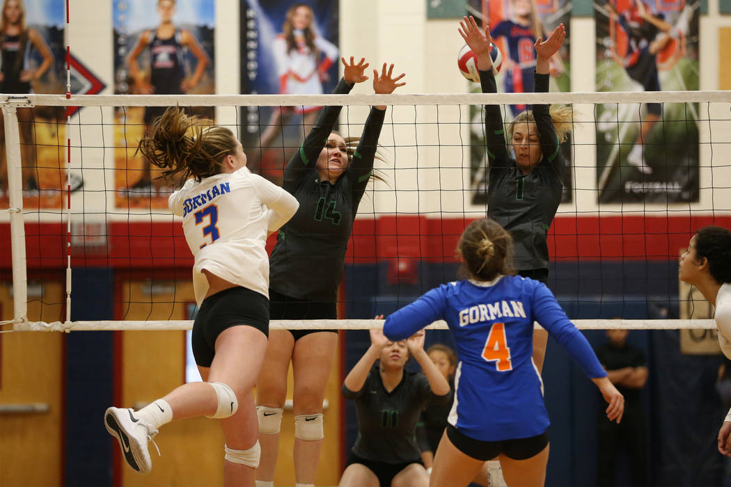 Bishop Gorman's Tommi Stockham (3) connects with the ball against Palo Verde during the first set of the girl's volleyball game at Coronado High School in Henderson, Saturday, Nov. 3, 2018. Bishop ...