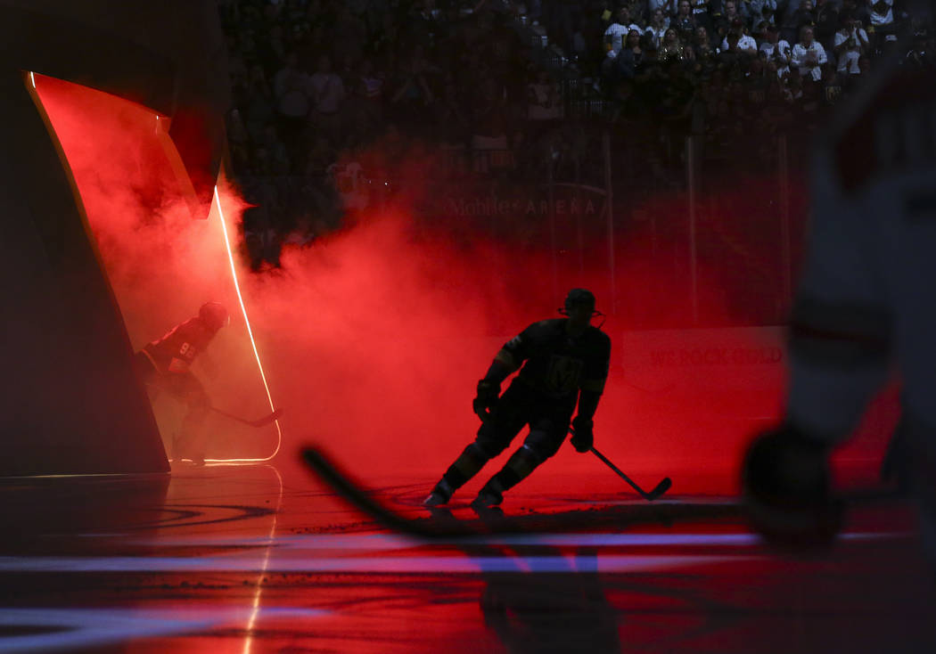 Golden Knights players take the ice for the start of an NHL hockey game against the Carolina Hurricanes at T-Mobile Arena in Las Vegas on Saturday, Nov. 3, 2018. Chase Stevens Las Vegas Review-Jou ...