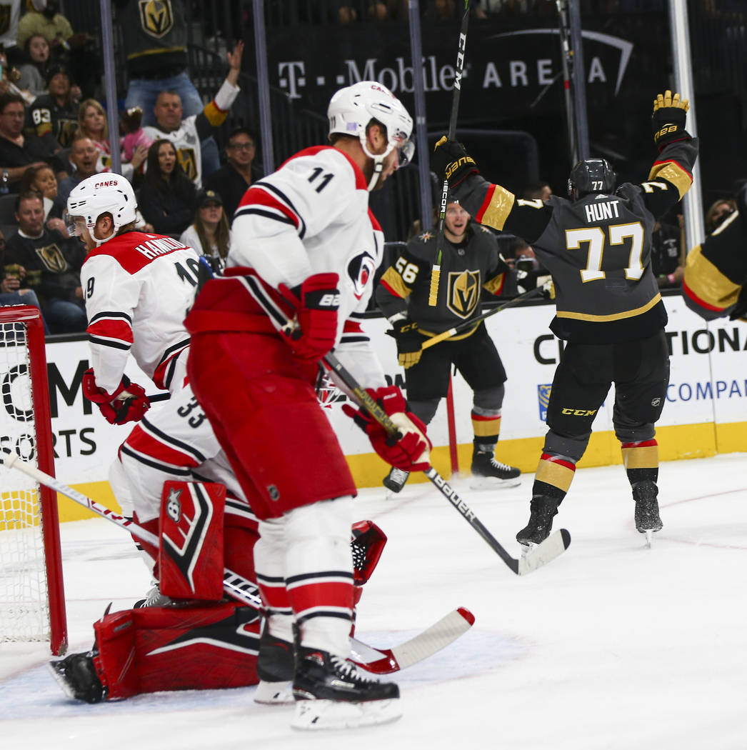 Golden Knights defenseman Brad Hunt (77) celebrates his goal against the Carolina Hurricanes during the first period of an NHL hockey game at T-Mobile Arena in Las Vegas on Saturday, Nov. 3, 2018. ...
