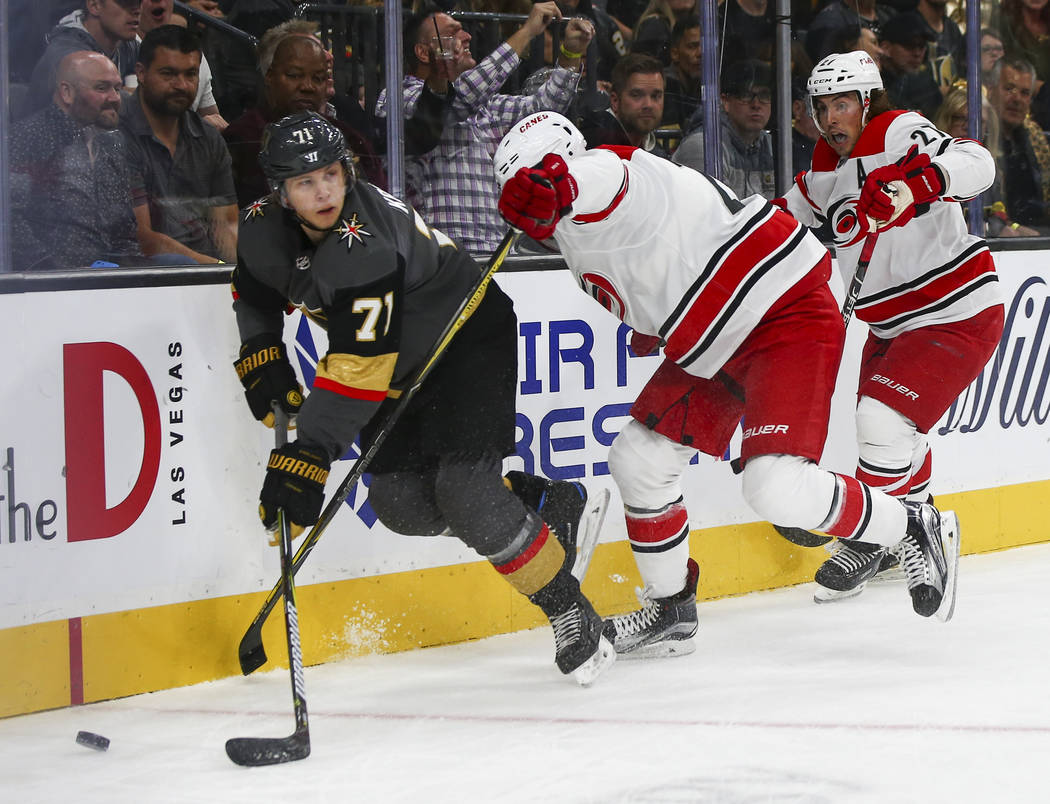 Golden Knights center William Karlsson (71) moves the puck past the Carolina Hurricanes during the first period of an NHL hockey game at T-Mobile Arena in Las Vegas on Saturday, Nov. 3, 2018. Chas ...