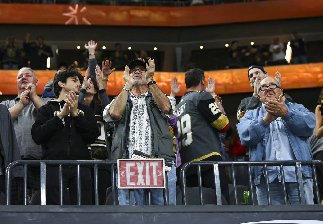 Golden Knights fans celebrate the second goal against the Carolina Hurricanes during the second period of an NHL hockey game at T-Mobile Arena in Las Vegas on Saturday, Nov. 3, 2018. Chase Stevens ...