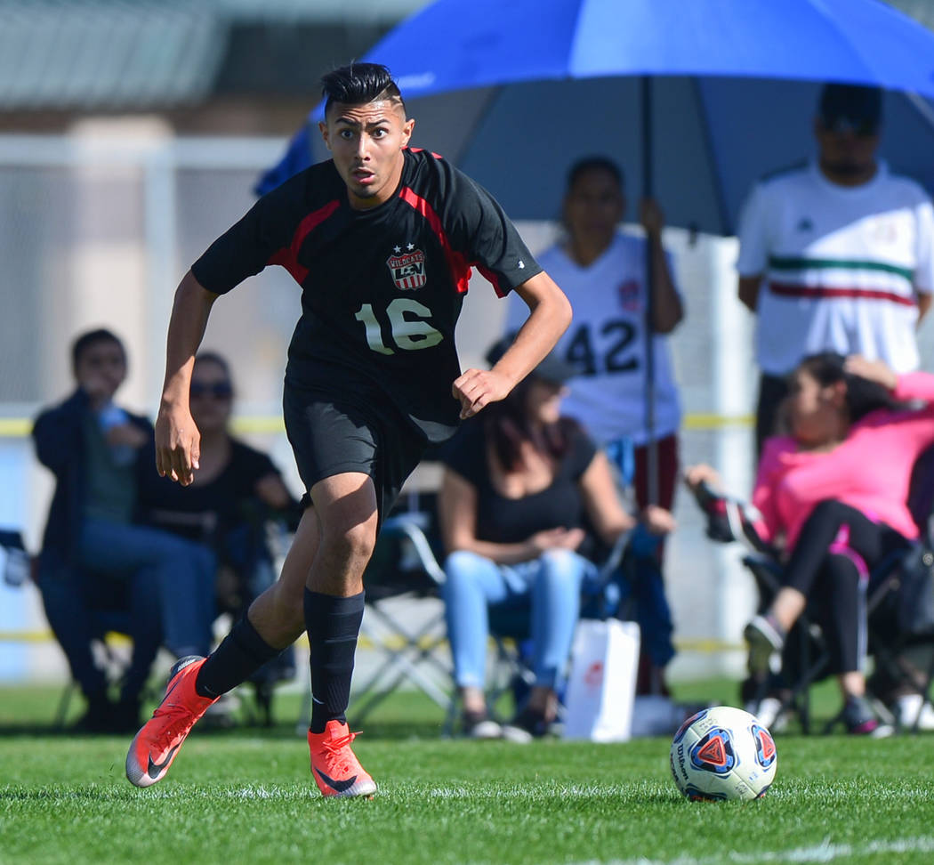 Las Vegas High School's Nathan Zamora (16) looks for an open man to pass to in the second half of the 3A Mountain Region Championship soccer game between Las Vegas High School and Eldorado High Sc ...