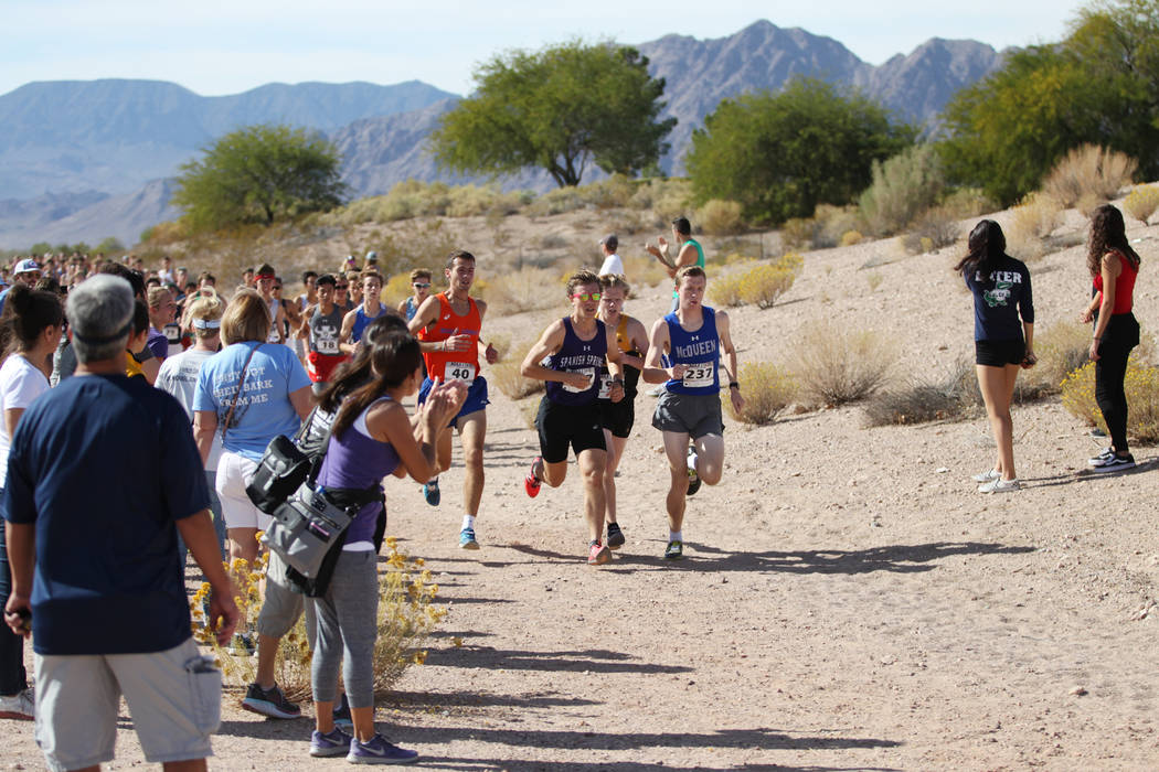 Runners compete in the NIAA 4A Boys Cross Country State Championship at the Veteran's Memorial Park in Boulder City, Saturday, Nov. 3, 2018. Erik Verduzco Las Vegas Review-Journal @Erik_Verduzco