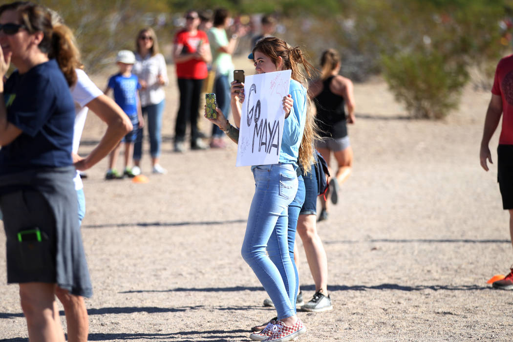People wait to cheer for the runners competing during the NIAA 4A Girls Cross Country State Championship at the Veteran's Memorial Park in Boulder City, Saturday, Nov. 3, 2018. Erik Verduzco Las V ...